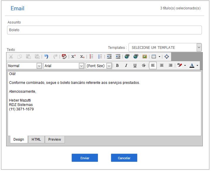 Sistema de Gestão - Email