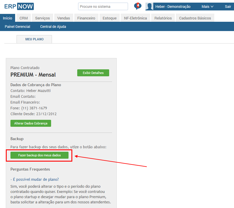 ERP Online - Backup de seus dados