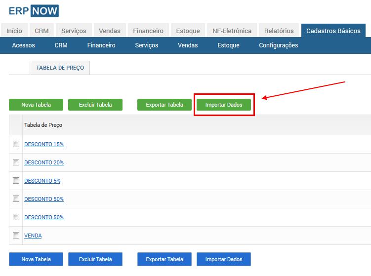 ERP Online - Importar planilhas para o ERPNOW